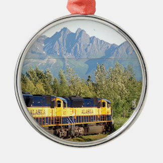 Alaska Railroad locomotive engine & mountains Christmas Ornament
