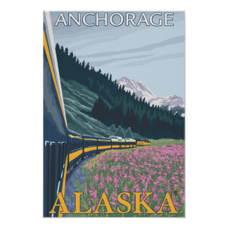 Alaska Railroad Scene - Anchorage, Alaska Poster