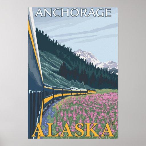 Alaska Railroad Scene - Anchorage, Alaska Poster