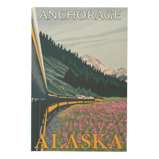 Alaska Railroad Scene - Anchorage, Alaska Wood Wall Art