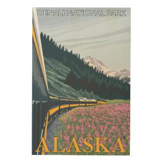 Alaska Railroad Scene - Denali Nat'l Park, Alask Wood Print