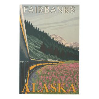 Alaska Railroad Scene - Fairbanks, Alaska Wood Print