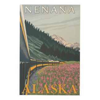 Alaska Railroad Scene - Nenana, Alaska Wood Wall Decor