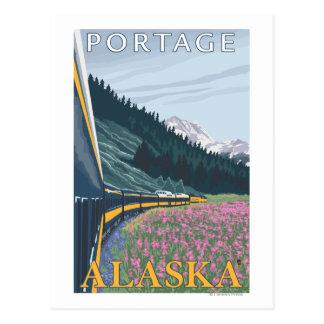 Alaska Railroad Scene - Portage, Alaska Postcard
