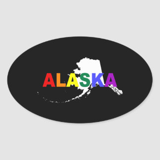 Alaska Rainbow State 2 Oval Sticker