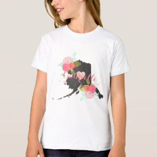Alaska State Chalkboard Floral & Heart Monogram T-Shirt