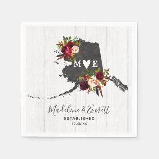 Alaska State Destination Rustic Wedding Monogram Disposable Serviettes