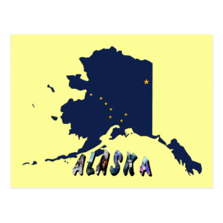 Alaska State Flag Map and Picture Text Postcard