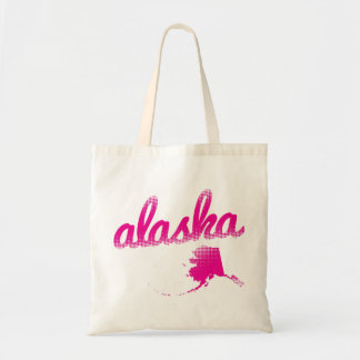 Alaska state in pink tote bag