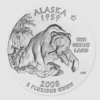 Alaska State Quarter Stickers