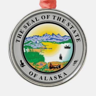 Alaska State Seal Ornament Silver-Colored Round Ornament