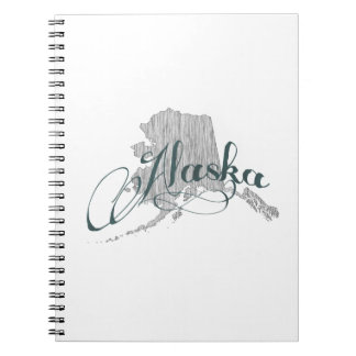 Alaska State Typography Spiral Notebook