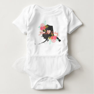 Alaska State Watercolor Floral Baby Girl Tutu Baby Bodysuit