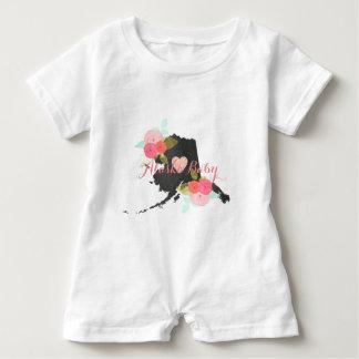Alaska State Watercolor Floral & Heart Baby Girl Baby Bodysuit