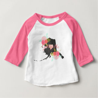 Alaska State Watercolor Floral & Heart Baby Girl Baby T-Shirt
