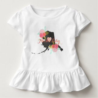Alaska State Watercolor Floral & Heart Baby Girl Toddler T-Shirt