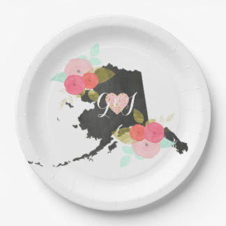 Alaska State Watercolor Floral Monogram Wedding 9 Inch Paper Plate