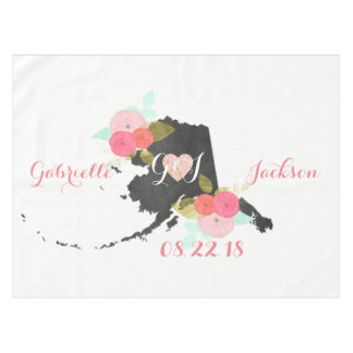 Alaska State Watercolor Floral Monogram Wedding Tablecloth
