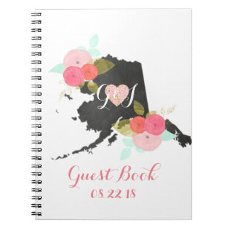 Alaska State Watercolor Floral Wedding Guest Book