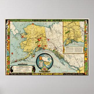 Alaska Steamship Company (1936) Map reproduction Poster