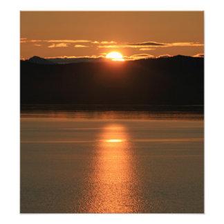Alaska Sunset - Reflecting off Ocean Art Photo
