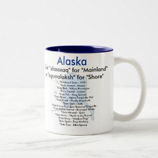 Alaska Symbols & Map Two-Tone Mug