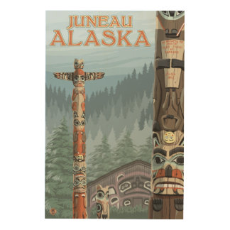 Alaska Totem Poles - Juneau, Alaska Wood Wall Art
