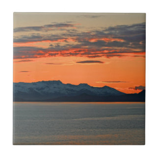 Alaska Vibrant Orange Sunset Small Square Tile