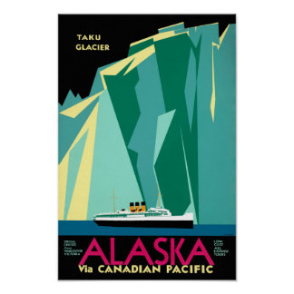Alaska Vintage Travel Poster Restored