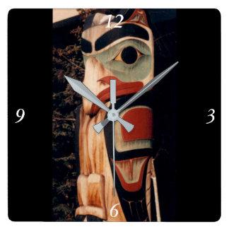 Alaska Wood Carved Southeast Totem Pole Fancy Square Wall Clock