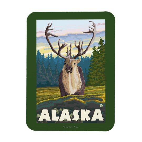 AlaskaCaribou in the Wild Vintage Travel Rectangular Photo Magnet