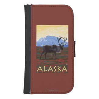 AlaskaCaribou Vintage Travel Poster Samsung S4 Wallet Case