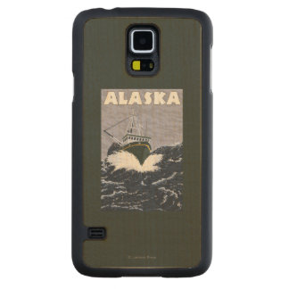 AlaskaCrab Boat Vintage Travel Poster Maple Galaxy S5 Slim Case