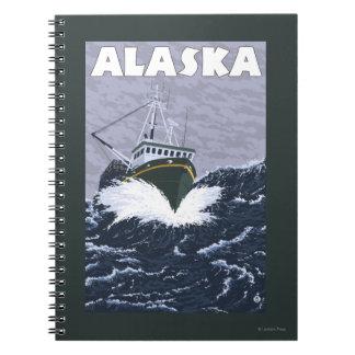 AlaskaCrab Boat Vintage Travel Poster Notebook