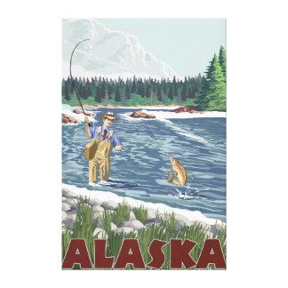 AlaskaFly Fisherman Vintage Travel Poster Canvas Print