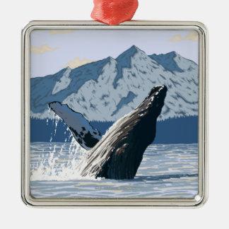 AlaskaHumpback Whale Vintage Travel Poster Christmas Ornament