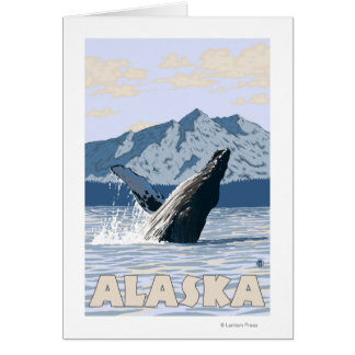 AlaskaHumpback Whale Vintage Travel Poster Greeting Card