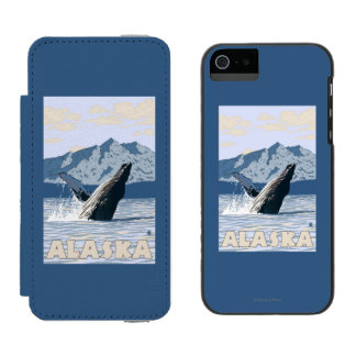 AlaskaHumpback Whale Vintage Travel Poster Incipio Watson™ iPhone 5 Wallet Case