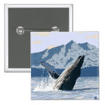 AlaskaHumpback Whale Vintage Travel Poster Pin