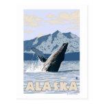 AlaskaHumpback Whale Vintage Travel Poster Postcard