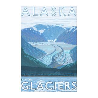 AlaskaLarge Glacier Scene Vintage Travel Canvas Print