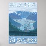 AlaskaLarge Glacier Scene Vintage Travel Poster