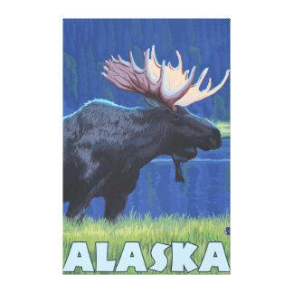 AlaskaMoonlight Moose Canvas Print