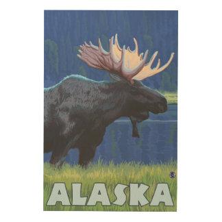 AlaskaMoonlight Moose Wood Wall Art