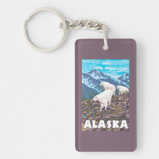 AlaskaMountain Goats Vintage Travel Poster Double-Sided Rectangular Acrylic Key Ring