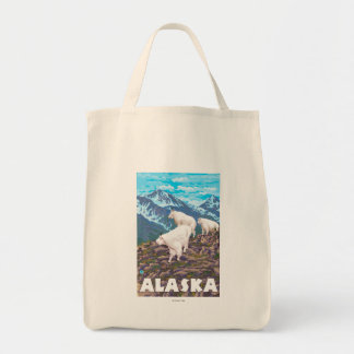 AlaskaMountain Goats Vintage Travel Poster Grocery Tote Bag
