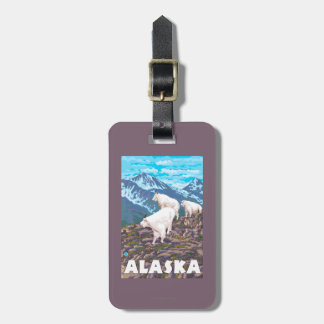 AlaskaMountain Goats Vintage Travel Poster Luggage Tag