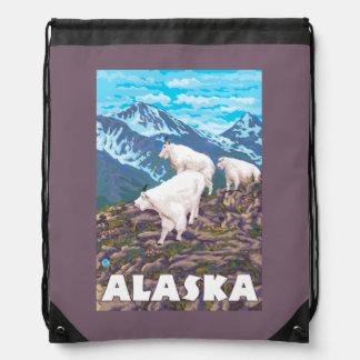 AlaskaMountain Goats Vintage Travel Poster Drawstring Bags