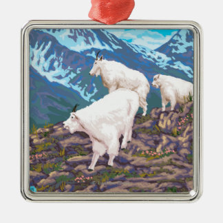 AlaskaMountain Goats Vintage Travel Poster Silver-Colored Square Decoration