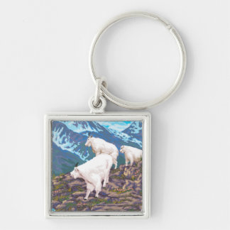 AlaskaMountain Goats Vintage Travel Poster Silver-Colored Square Key Ring